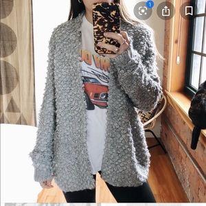 Loft loop stitch grey cardigan